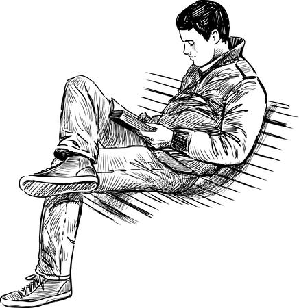 un jeune homme lit sur le banc de parc Vecteurs