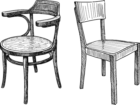 Vector drawing of the old wooden chairs.