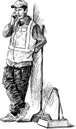 Sketch of a street cleaner talking on the phone