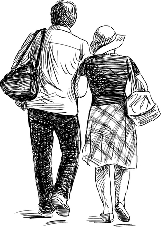 The couple of the townspeople strolling Illustration