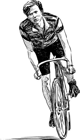 Sketch of young man's rides on a bicycle Illustration