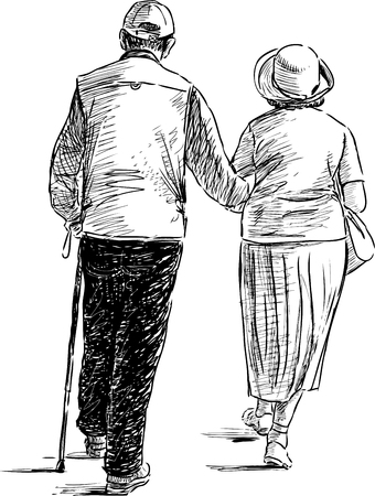 Vector drawing of the elderly couple on a walk