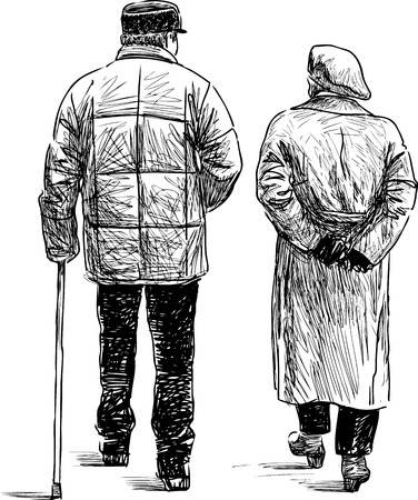 Sketch of the elderly couple for a walk Çizim