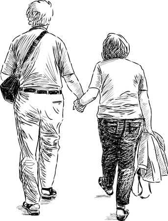 Sketch of the elderly couple at walk Vettoriali