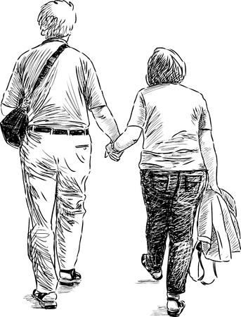 Sketch of the elderly couple at walk Illustration