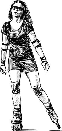 rollerblade: Vector sketch of a girl rollerblading.