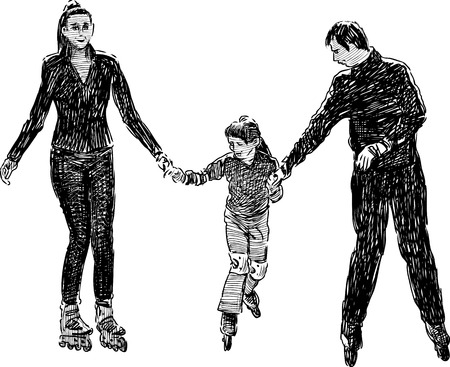 Vector drawing of an old family rollerblading