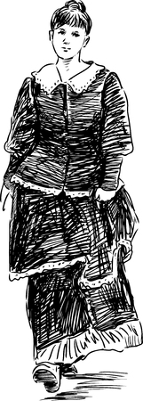 Sketch of a girl in the vintage dress