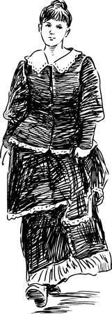 Sketch of a girl in the vintage dress Banco de Imagens - 81223084