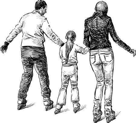 rulos: Boceto de la joven familia en los patines Vectores
