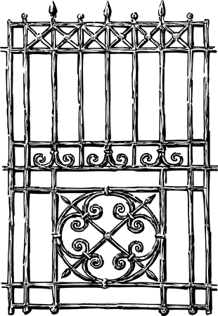Vector drawing of a fragment of a garden fence