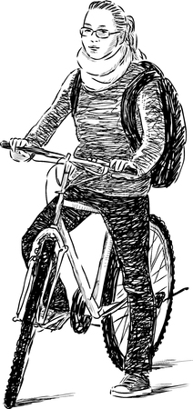 Sketch of a schoolgirl on a bicycle
