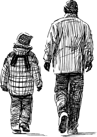 striding: Sketch of a father and a son on a walk