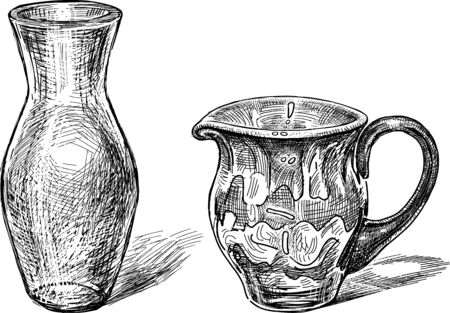 Vector drawing of the glass vases Illustration