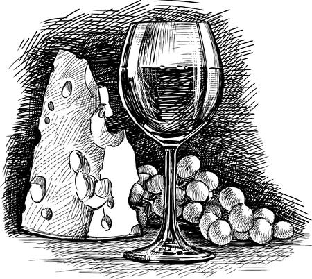 Vectortekening van een een druivenwijn en kaas
