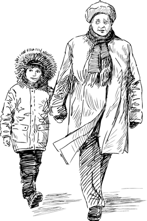 Grandmother and grandson on a walk