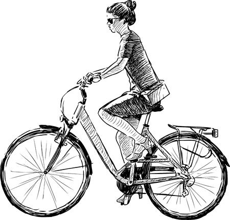 mode of transport: Sketch of a girl riding a bike Illustration