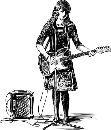 an entertainer: Sketch of a girl with a guitar