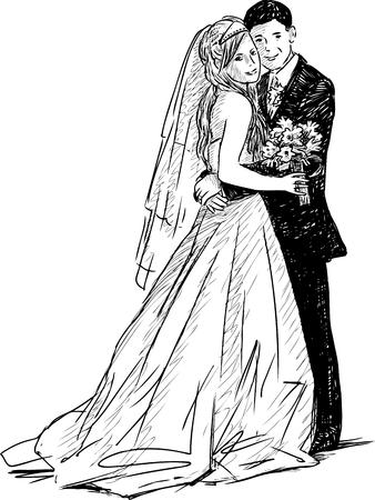 Vectortekening van de gelukkige jonggehuwden Stock Illustratie
