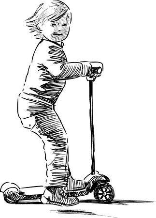 Sketch of a little girl rides a scooter