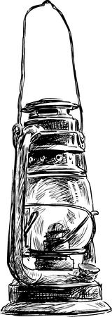 Sketch of an obsolete kerosene lamp Vettoriali