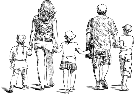 striding: Vector drawing of a family on a stroll Illustration