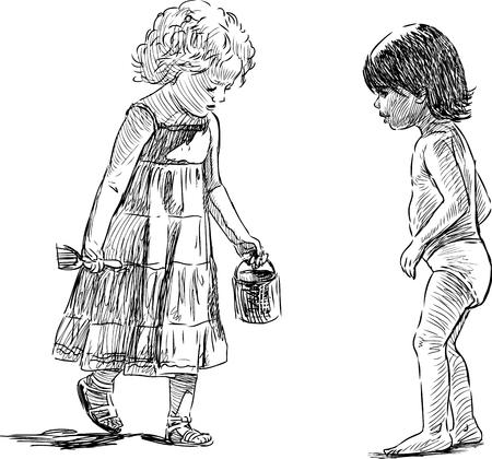 Croquis des enfants sur la plage Vecteurs
