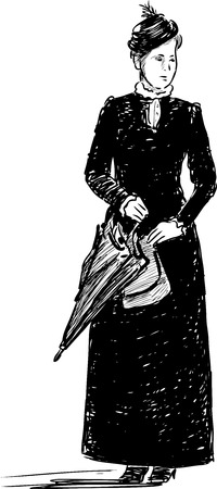 Sketch of a lady with an umbrella