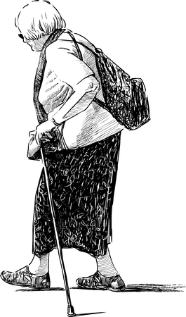 passerby: Sketch of a walking old woman Illustration