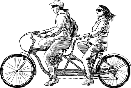 Vector image of the townspeople riding a bicycle together Illustration