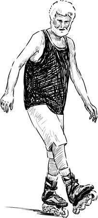 Vector sketch of an old man on the roller skates Illustration