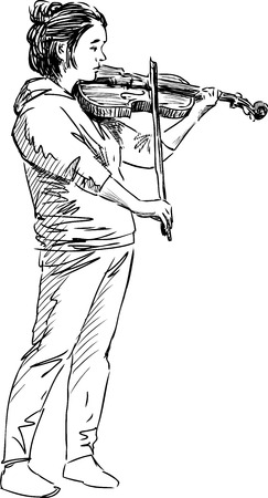 Vector sketch of an young violinist girl
