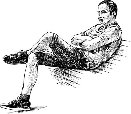 snění: Skica mladého muže na lavičce v parku Ilustrace