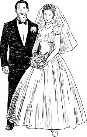 Sketch of the cheerful newlyweds