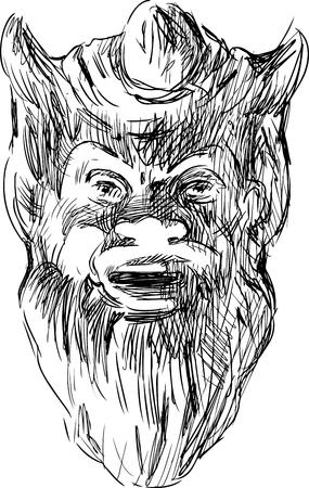 Vector sketch of a mythology mask