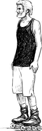 Sketch of an elderly man on the roller skates