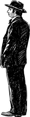 Bosquejo de un hombre en el sombrero Foto de archivo - 81297437