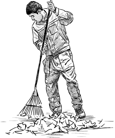 Sketch Of A Street Cleaner