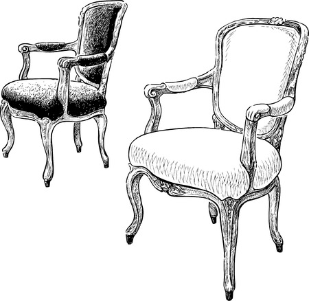 Vector drawings of the antique armchairs