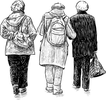 Sketch of the elderly women on a stroll