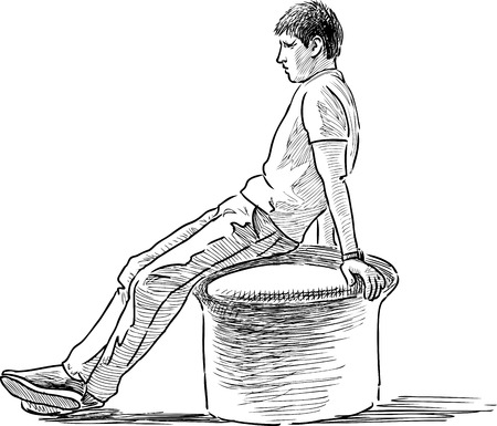 seacoast: Sketch of a tired young man illustration.