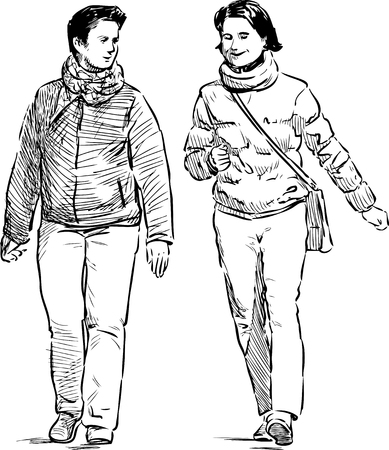 Vector drawing of the casual cheerful pedestrians
