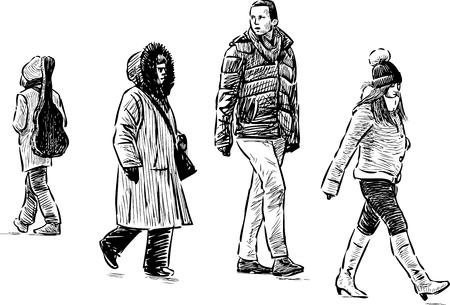 Vector sketch of a city pedestrians