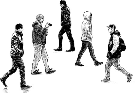 Vector drawing of the casual urban dwellers