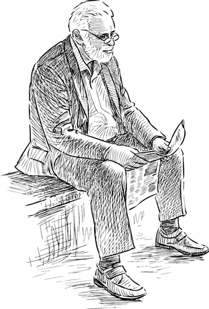 Vector drawing of an old man reads on the park bench