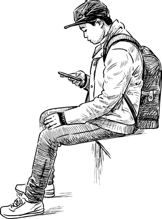 Student Life: Vector drawing of a student with a cell phone Illustration