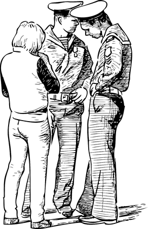 Sketch of an young people conversing