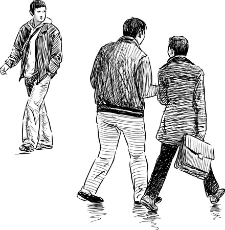 striding: Sketch of the casual townsmen