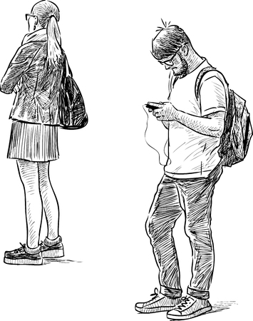 Student Life: The young people on the bus stop Illustration