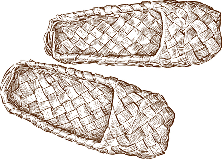 Vector drawing of the old bast shoes